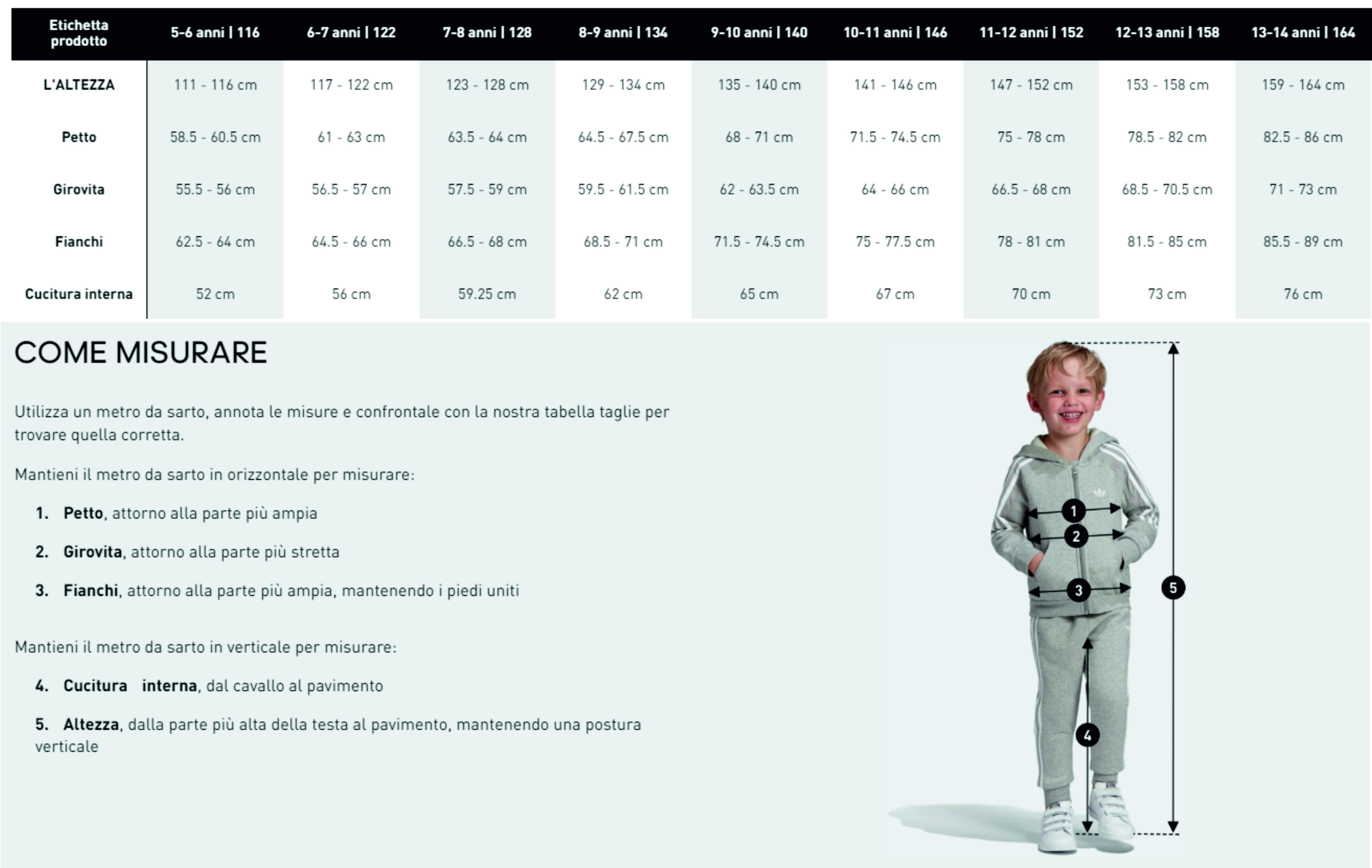 Tabelle misure Adidas Guandalini Sport
