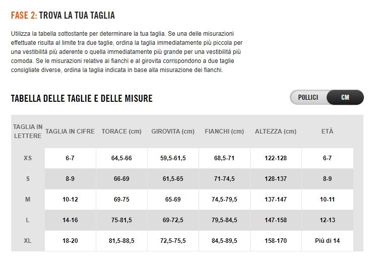 Tabelle misure Nike Bambino Guandalini Sport  yssjj4