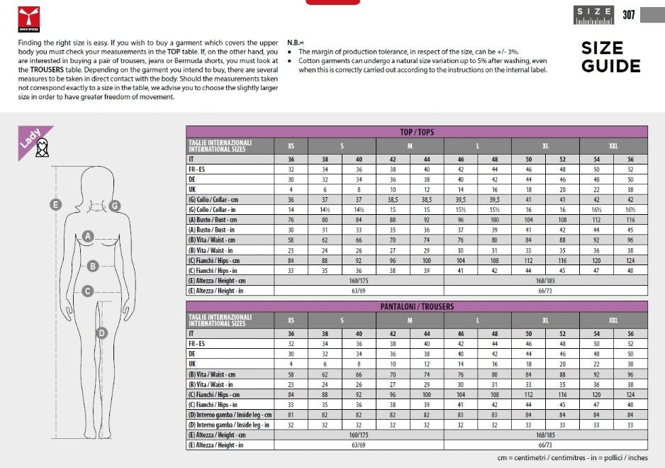Tabelle misure Payper Guandalini Sport