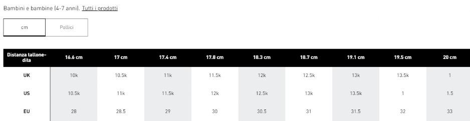 Tabelle misure Adidas Scarpe Bambino - Guandalini Sport